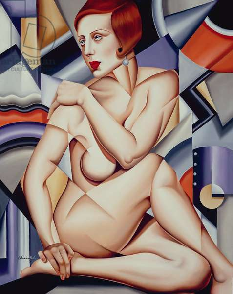 Cubist Nude (oil on canvas)