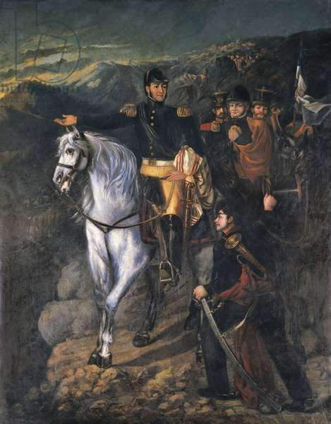 General San Martin after crossing the Andes in 1817, 1865 (oil on canvas)