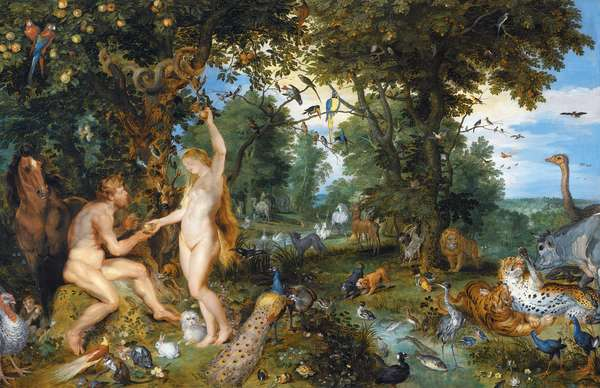 The Garden of Eden with the Fall of Man, c.1615 (oil on panel)