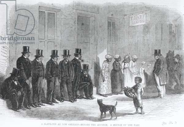 A Slave-Pen at New Orleans - Before the Auction, from 'Harper's Weekly', 24th January 1863 (engraving) (b&w photo)