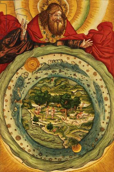 The Creation, from the Luther Bible, c.1530 (coloured woodcut)