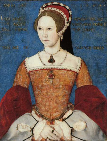 Portrait of Mary I or Mary Tudor (1516-58), daughter of Henry VIII, at the Age of 28, 1544 (panel)