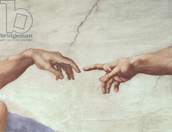 Hands of God and Adam, detail from The Creation of Adam, from the Sistine Ceiling, 1511 (fresco) (pre restoration)