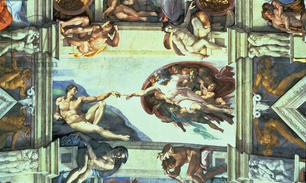 Sistine Chapel Ceiling: Creation of Adam, 1510 (fresco) (post restoration)