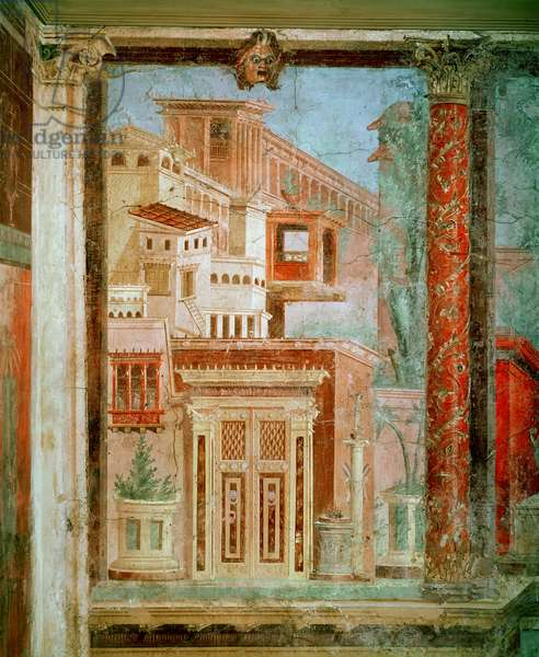 Panel from Cubiculum from the bedroom of the villa of P Fannius at Boscoreale, Pompeii, c.50-40 BC (wall painting)
