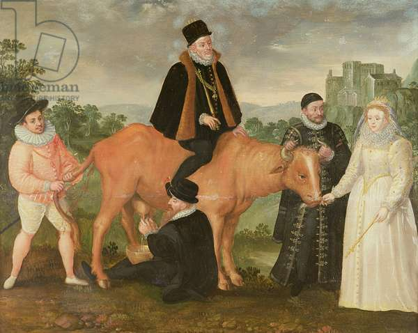 Portrait of Philip II (mounted on a cow), the Duke of Alencon, the Duke of Alba, William of Orange and Queen Elizabeth I