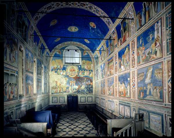 View of the chapel looking towards The Last Judgement by Giotto di Bondone, Scrovegni (Arena) Chapel, Padua, Italy (photo)