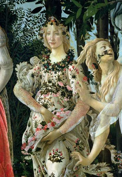 Detail of Flora as the Hour of Spring, from the Primavera (tempera on panel) (detail of 558)