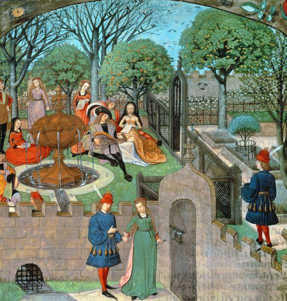 Harl 4425 f.12v Garden scene, the lover and dame Oyseuse (Idleness) outside the garden walls, from the 'Roman de la Rose', Bruges, c.1490-1500 (vellum)