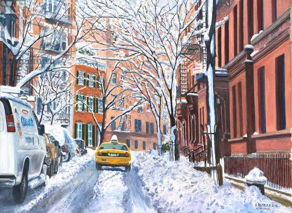 Snow, West Village, NYC, 2012 (oil on canvas)