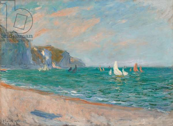 Boats Below the Pourville Cliffs; Bateaux Devant les Falaises de Pourville, 1882 (oil on canvas)