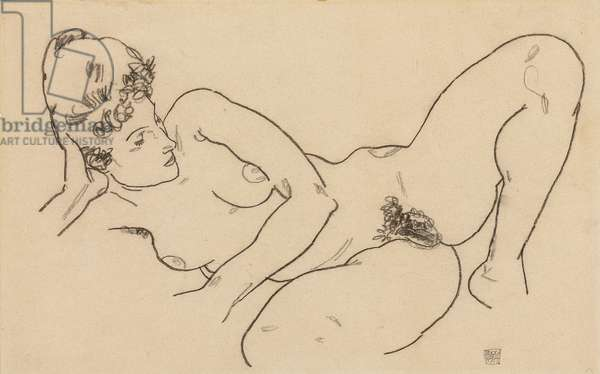 Reclining Nude; Liegender Akt, 1917 (black crayon and pencil on paper)