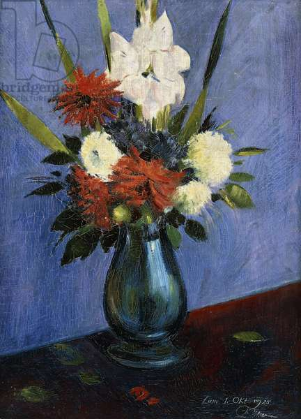 Vase of Flowers with Gladiola and Dahlias; Blumenvase mit Gladiolen und Dahlien, (oil on canvas)