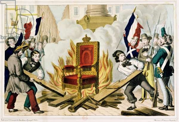 The People Burning the Throne at the Place de la Bastille, 1848 (colour litho)