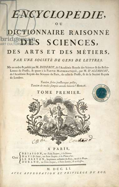 Title page of the first volume of the 'Encyclopedia' by Denis Diderot and Jean le Rond d'Alembert, 1751 (engraving)