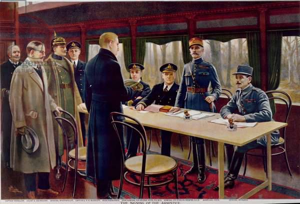 The Signing of the Armistice on 11th November 1918 at 5 a.m., 1918 (colour litho)