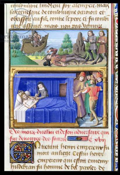 Ms 722/1196 fol.189r Two Death Scenes, from Le Miroir Historial, by Vincent de Beauvais (vellum)