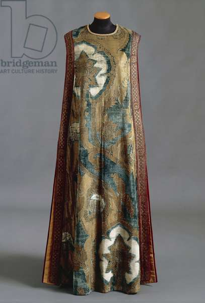 Medieval theatre costume in blue and gold print silk velvet, from Mariano Fortuny manufacture, Venice, Italy, Circa 1912