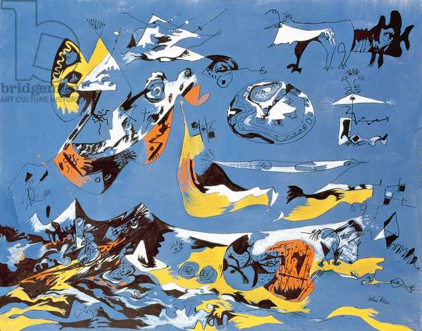 Moby Dick (1943), by Jackson Pollock (1912-1956), gouache and ink, 47x60 cm. United States of America, 20th century.