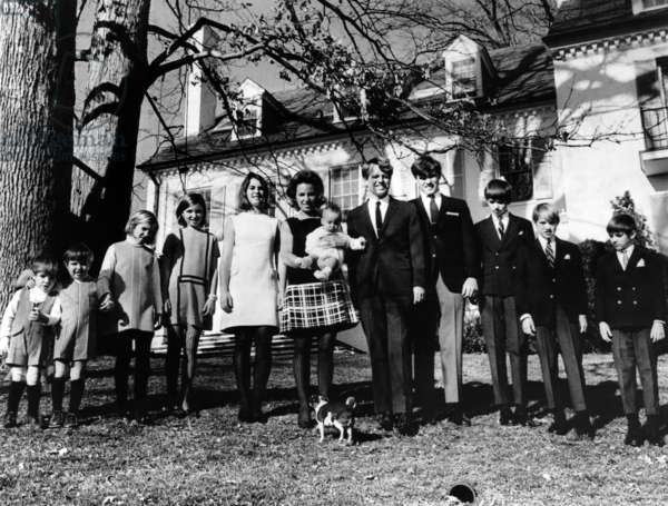 L-R: Matthew Maxwell Taylor Kennedy, Christopher George Kennedy, Mary Kerry Kennedy, Mary Courtney Kennedy, Kathleen Kennedy, Ethel Kennedy (holding Douglas Kennedy), Robert F. Kennedy, Joseph Patrick Kennedy, Robert F. Kennedy Jr., David Anthony Kennedy, Michael LeMoyne Kennedy, outside their home in Hickory Hill, Virginia, c. 1960's.