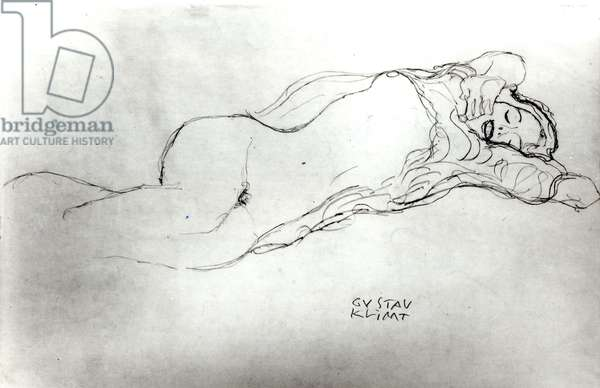 Reclining Woman, c.1914 (pencil on paper) (b/w photo)