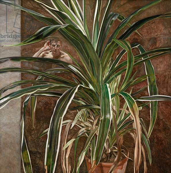 Interior with Plant, Reflection Listening (Self Portrait), 1967-68 (oil on canvas)