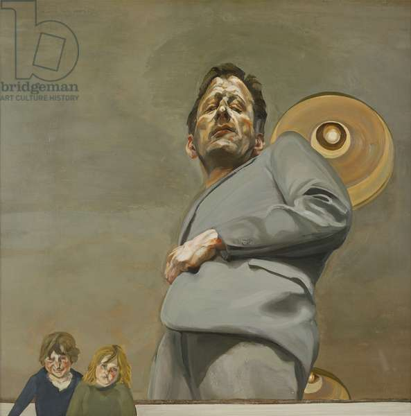Reflection with Two Children (Self Portrait), 1965 (oil on canvas)
