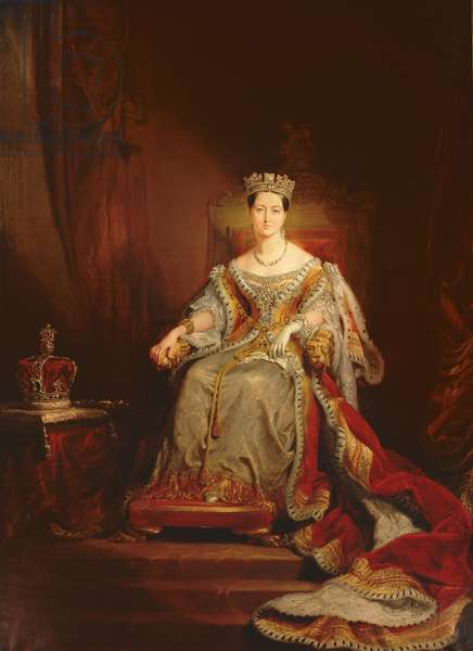 Queen Victoria seated on the throne in the House of Lords, 1838 (oil on canvas)