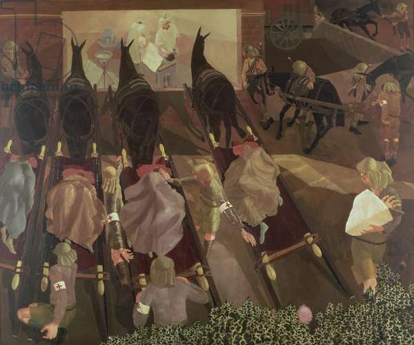 Travoys arriving with wounded at a dressing station, Smol, Macedonia, 1916 (oil on canvas) 1919