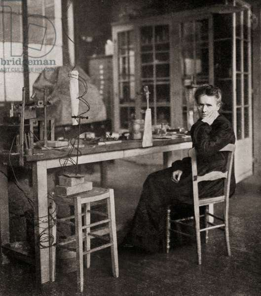 Marie Sklodowska Curie, from Master Minds of Modern Science, published 1930 (b/w photo)