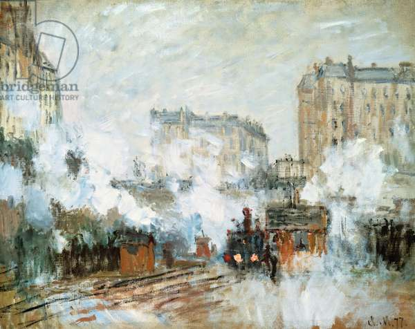Exterior of the Gare Saint-Lazare, Arrival of a Train, 1877 (oil on canvas)