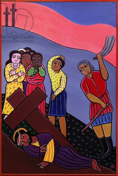 Jesus Falls a Third Time, no. 9 in '14 Stations of the Cross' series, 2002 (acrylic on canvas) (see also 192720-727, 192729-733)