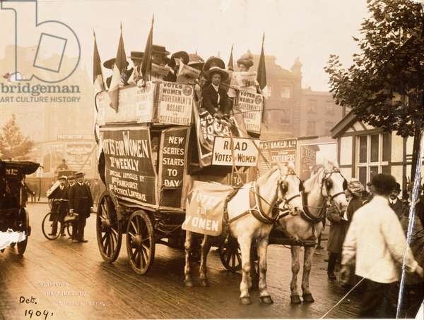 Suffragette cart advertising 'Votes for Women', 1909 (b/w photo)