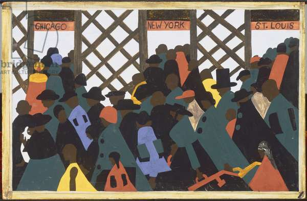 The Migration Series, Panel No.1: During World War I there was a great migration north by southern African Americans, 1940-41 (casein tempera on hardboard)
