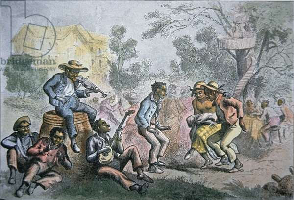 Slaves dance to their own music on a Southern plantation, c.1852 (colour litho)