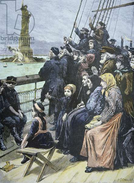 European immigrants passing the Statue of Liberty in New York Harbour, 1892 (coloured engraving)