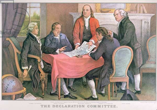 The Declaration Committee, published by Currier & Ives, New York (colour litho)