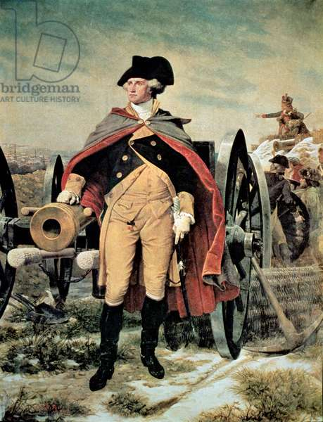 George Washington at Dorchester Heights, Massachusetts (colour litho)