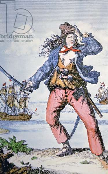Mary Read, female pirate (coloured engraving)