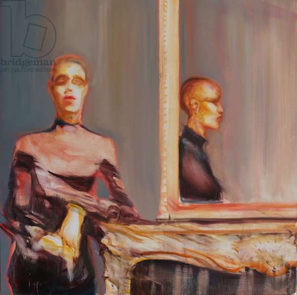 Woman with Reflection, 2017, (oil on silk)