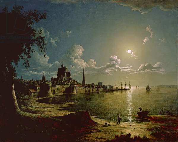 Moonlight Scene, Southampton, 1820 (oil on canvas)