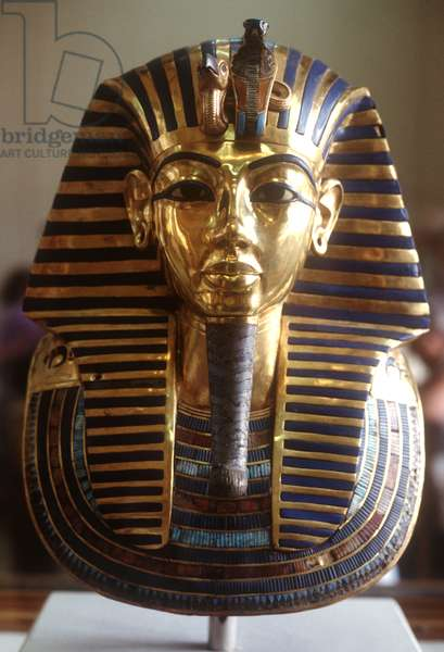 The gold mask, from the Treasure of Tutankhamun (c.1370-52 BC) c.1340 BC (gold) (see also 149421 & 162303)