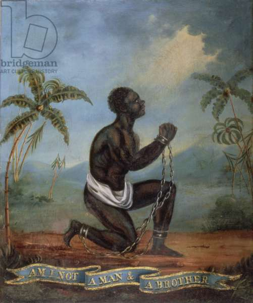 The Kneeling Slave - 'Am I not a Man and a Brother' (oil on canvas)