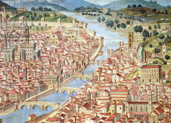 The 'Carta della Catena' showing a panorama of Florence, 1490 (detail of 161573)