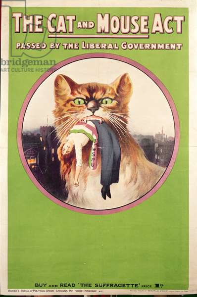 The Cat and Mouse Act, 1913 (colour litho)