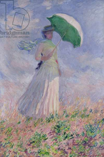 Woman with a Parasol turned to the Right, 1886 (oil on canvas)