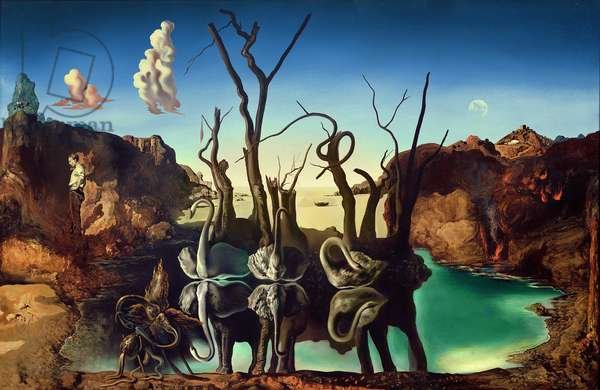 Swans Reflecting Elephants, 1937 (oil on canvas)