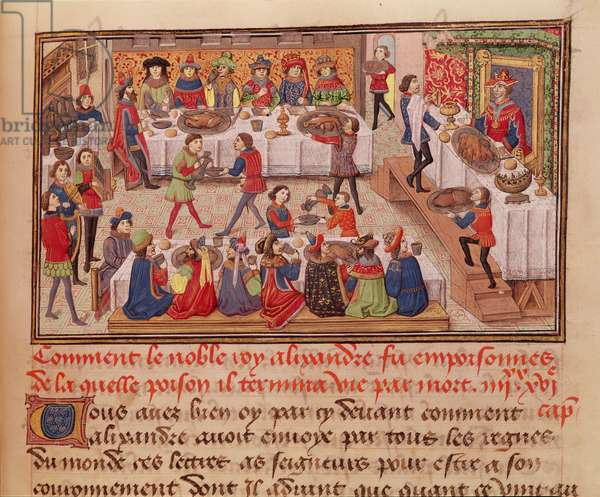 Fol.298r How the Noble King Alexander was Poisoned, illustration from a book by Jean Wauquelin, from the ' Histoire du Grand Alexandre' 1460 (vellum)