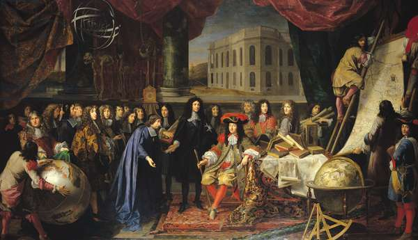 Jean-Baptiste Colbert (1619-1683) Presenting the Members of the Royal Academy of Science to Louis XIV (1638-1715) c.1667 (oil on canvas)
