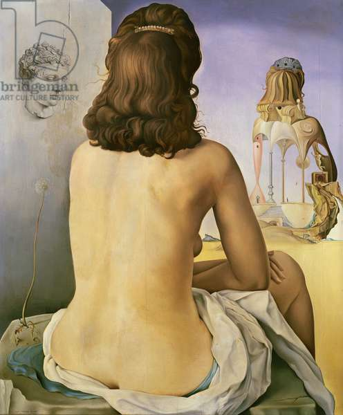 My Wife, Nude, Contemplating her own Flesh Becoming Stairs, Three Vertebrae of a Column Sky and Architecture, 1945 (oil on panel)